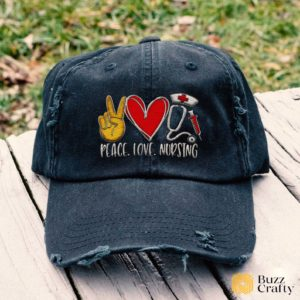 Peace Love Nursing Embroidered Hat, Distressed Baseball Cap - Collection 3D Full Printing I3D5