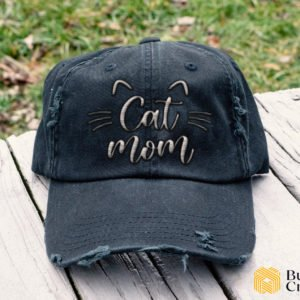 Cat Mom V2 Embroidered Hat, Distressed Baseball Cap - Collection 3D Full Printing I3D2