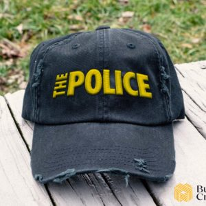 The Police Embroidered Hat, Distressed Baseball Cap I2D3