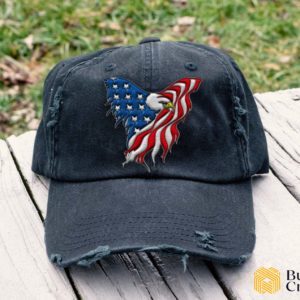 Eagle Flag Embroidered Hat, Distressed Baseball Cap - Collection 3D Full Printing I3D5