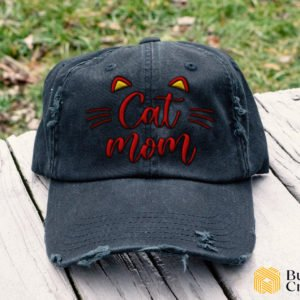 Cat Mom Embroidered Hat, Distressed Baseball Cap - Collection 3D Full Printing I3D2