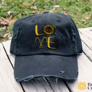 I love fishing and sunflower Embroidered Hat, Distressed Baseball Cap - Collection 3D Full Printing I1D4