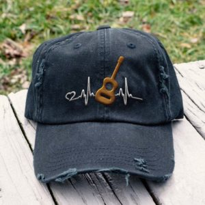 Guitar Acoustic heartbeat - Embroidered Hat, Distressed Baseball Cap I2D7