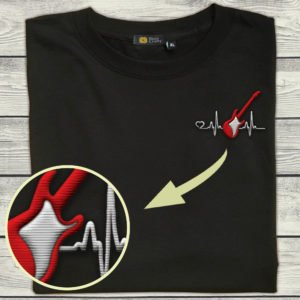 Guitar Bass Heartbeat - Embroidered TShirt I2D5