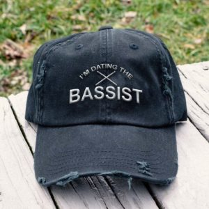 I'm Dating The Bassist Guitar Music - Embroidered Hat, Distressed Baseball Cap I2D2